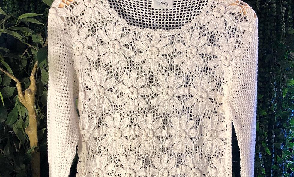 White long sleeve crochet