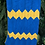 Thumbnail: 1980s hand knitted yellow and blue zig zag print blanket