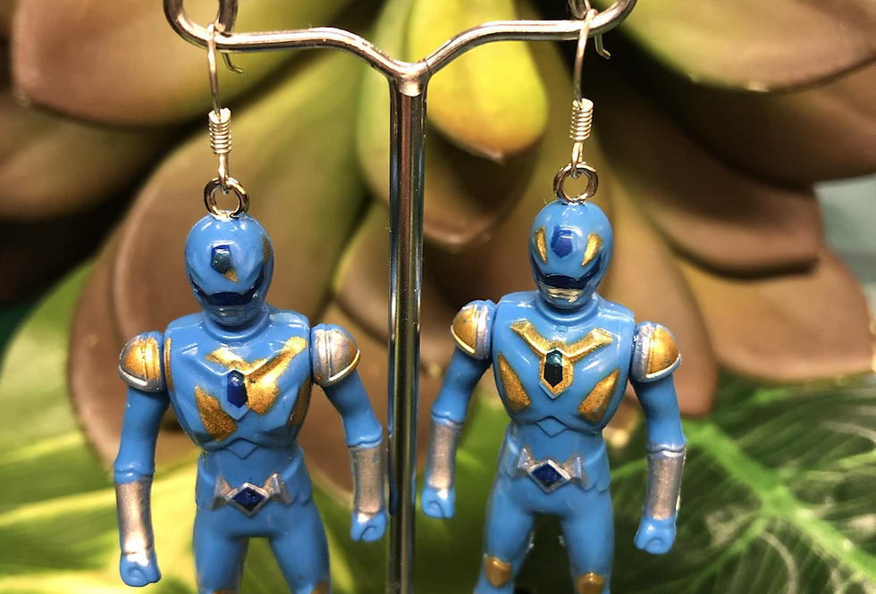 Blue power ranger earrings