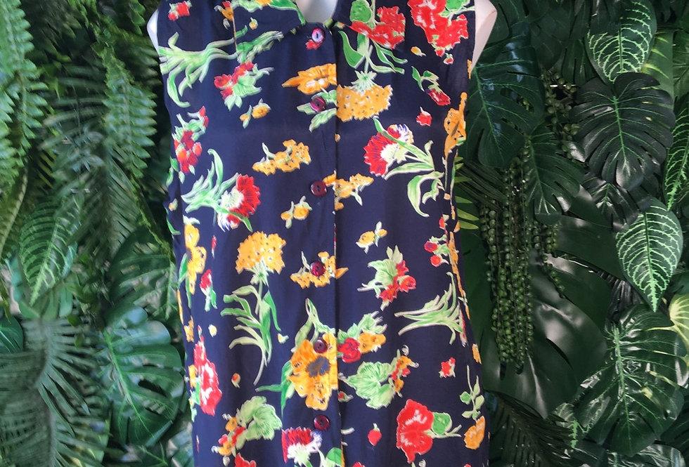 Sleeveless floral blouse (M)