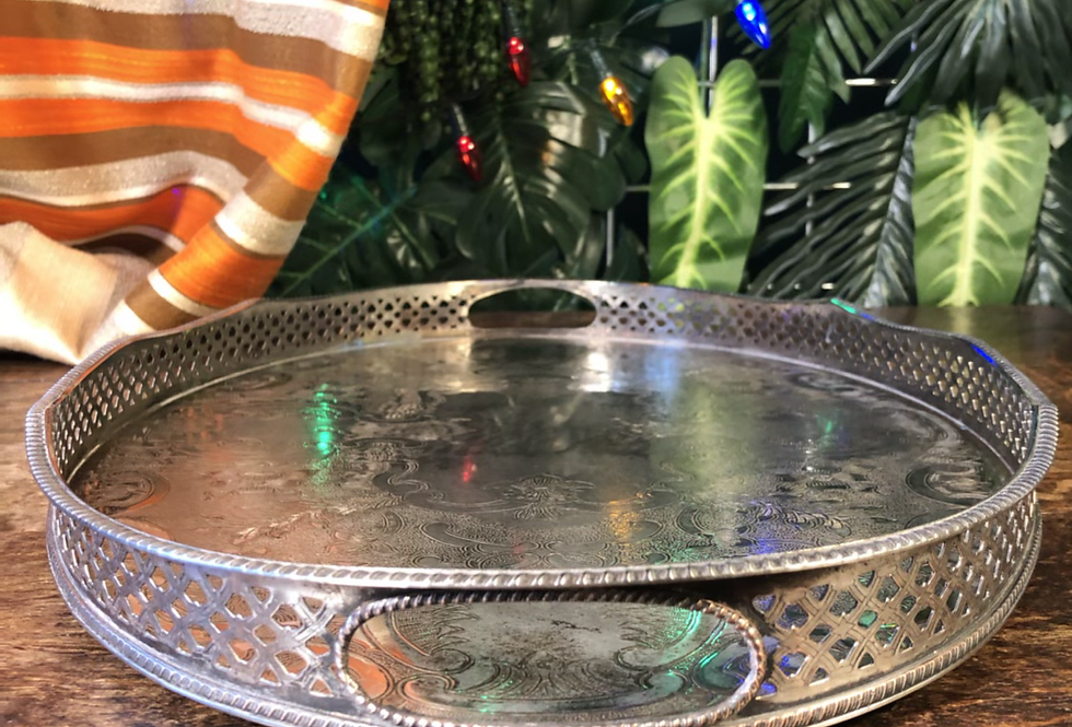 1980s silver floral serving tray