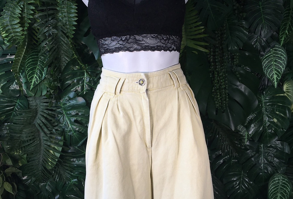 Faded yellow denim culottes (size 42)