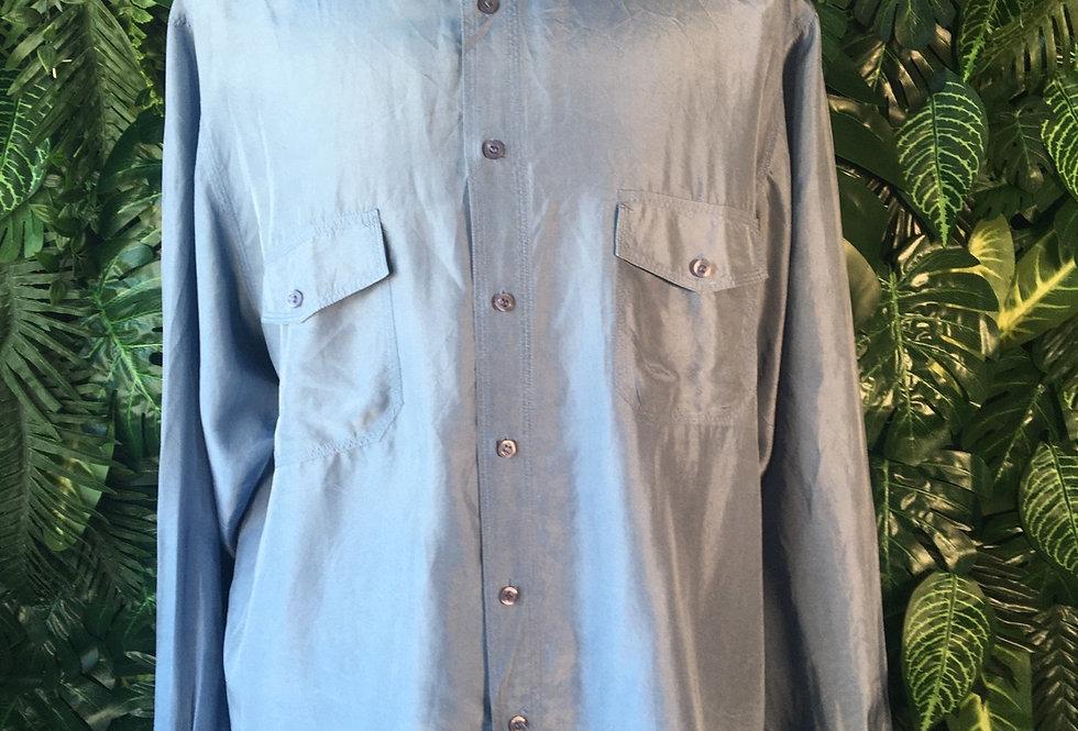 Blue silk shirt (XL)