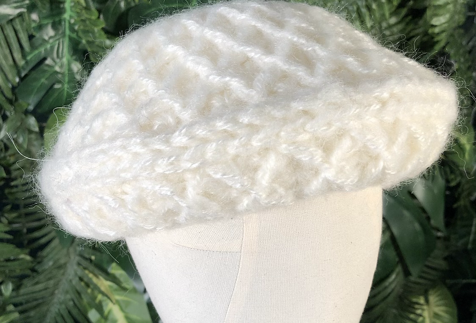 Cream waffle knit hat