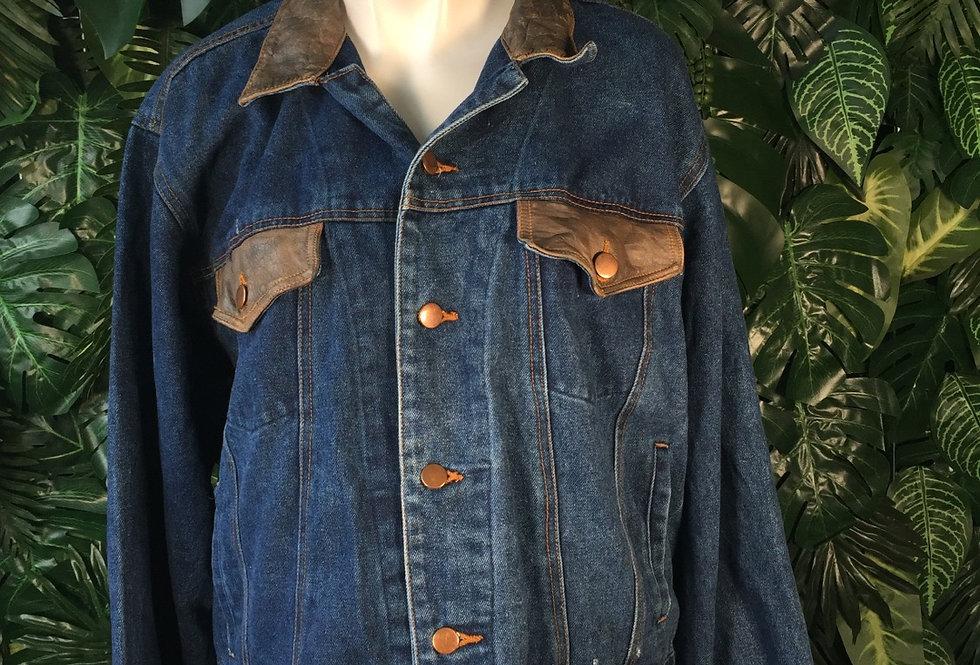Leather trim denim jacket (L)