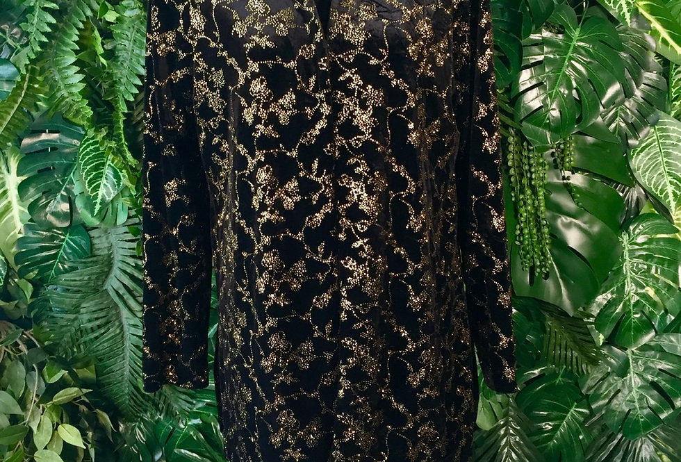 Black velvet dress with gold detail jacket (size 14)