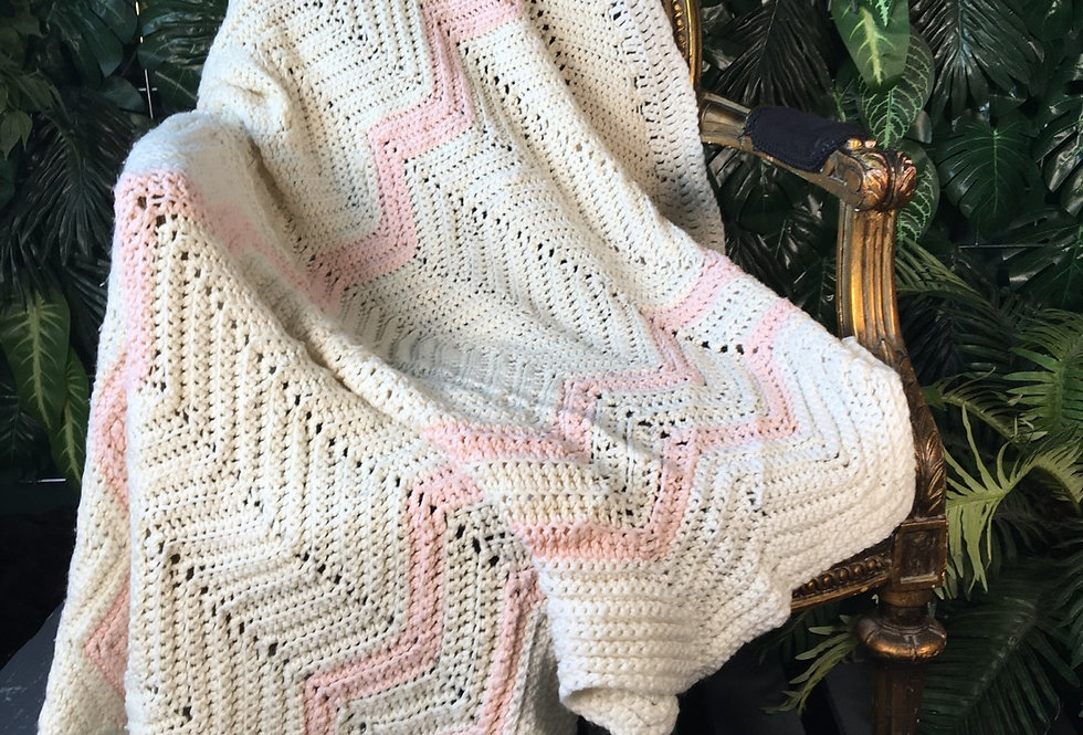 Baby pink and cream blanket