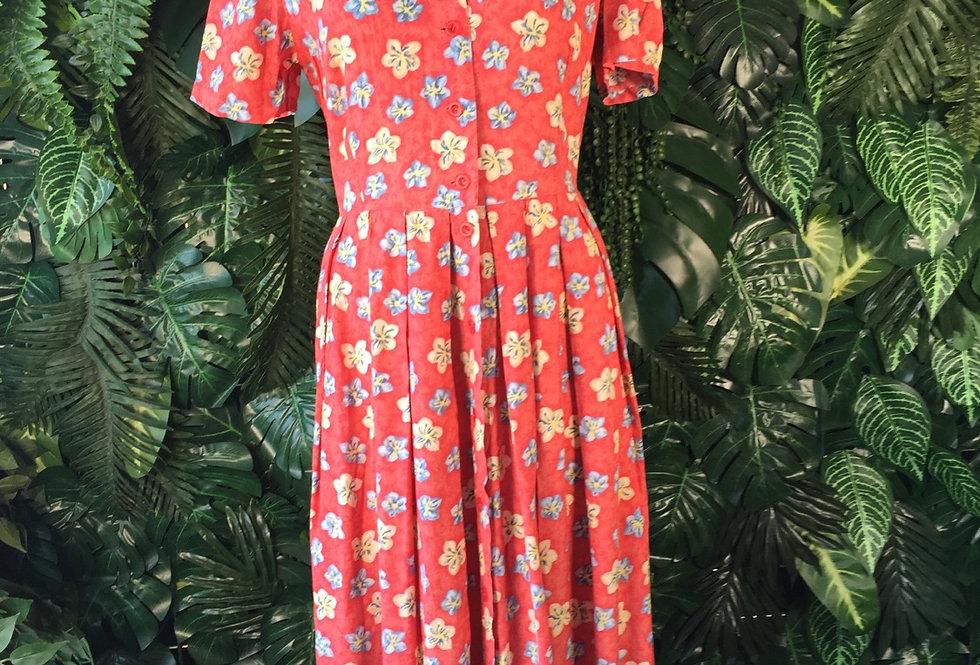 Red 90s lace back sun dress (size 12)