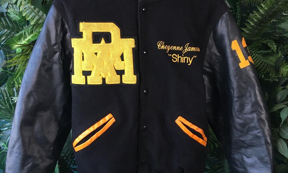 "Cheyenne ""Shiny"" Jameson leather and fleece varsity jacket. Size - S"