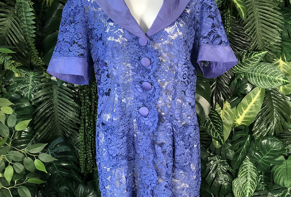 Royal blue lace jacket dress