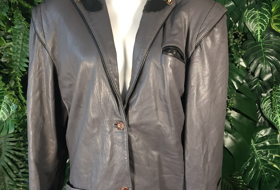 Aviator Collection military cut leather blazer (S)