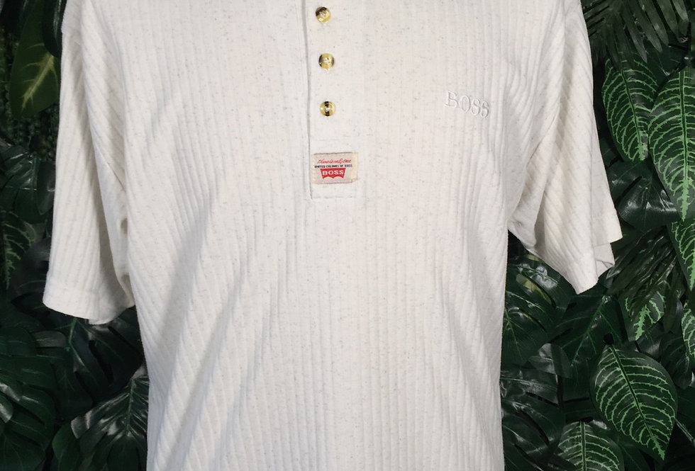 Boss ribbed button up tee (L)