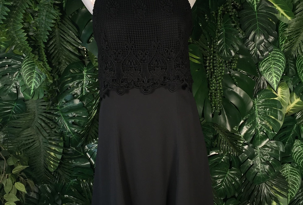 Little black dress with floral crochet (size 14)