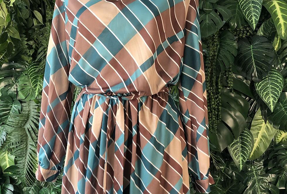 80s button neck dress
