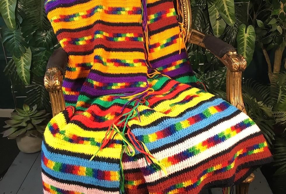 Large Hand Knit Rainbow Blanket