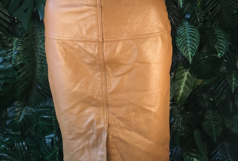 Tan Leather Skirt (size 6)