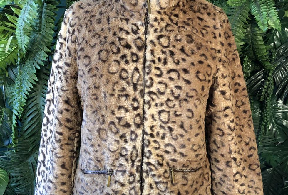 Zip up faux fur leopard jacket