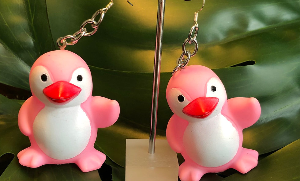 Pink penguin earrings