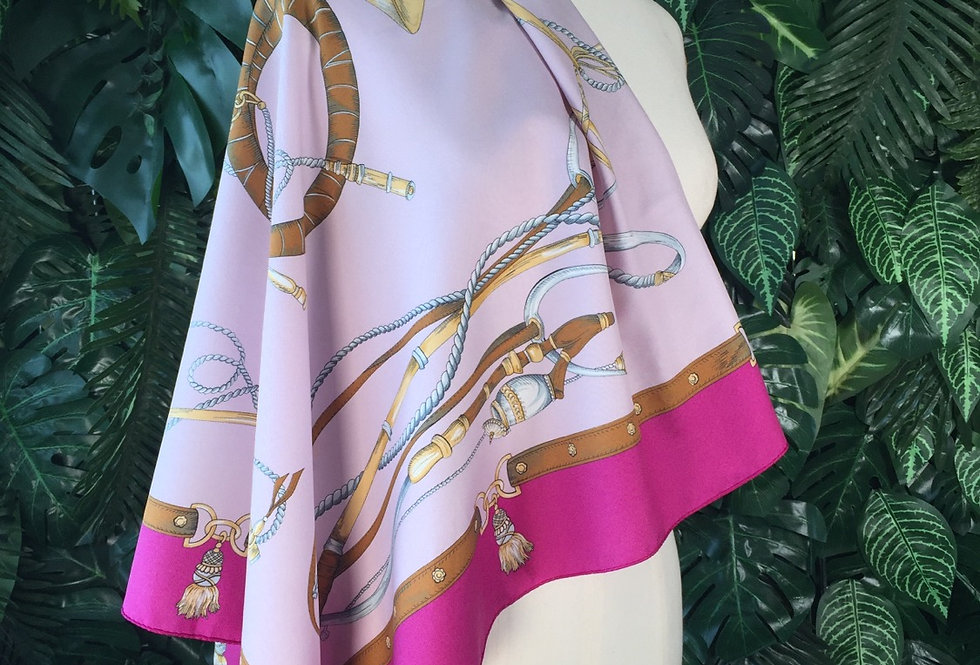 Pink horn print scarf