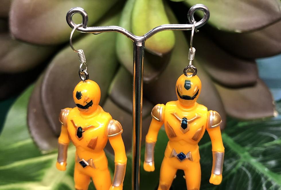 Yellow power ranger earrings