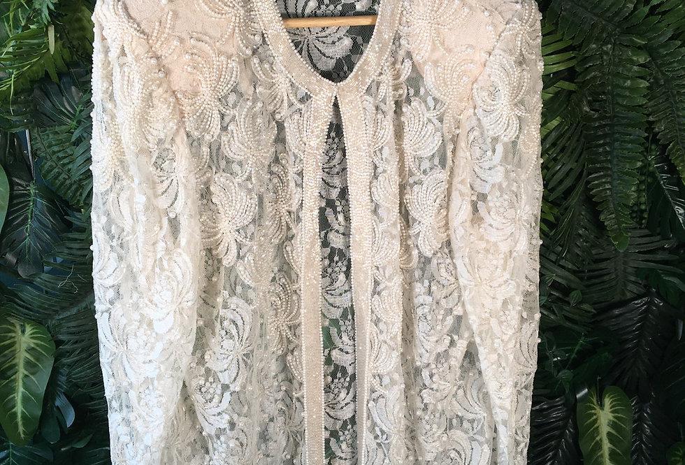 Scala Beaded Lace Cardigan (L)