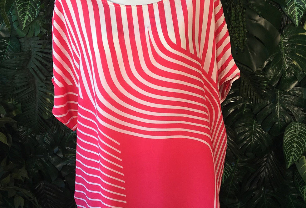Hot pink & white blouse (size 20)