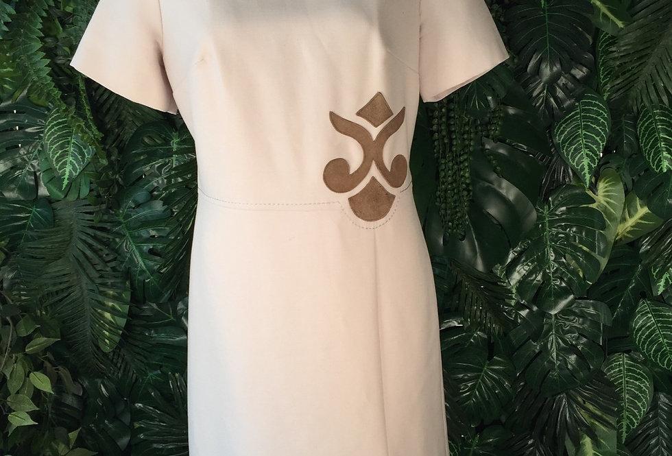 Vintage S Modell faun dress with suede detail (size 16)