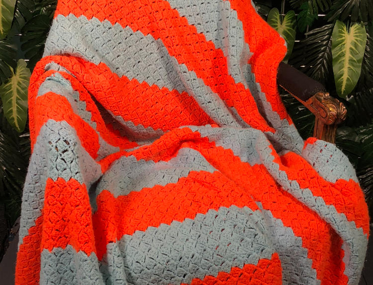 1980s large neon orange and baby blue hand crotched blanket