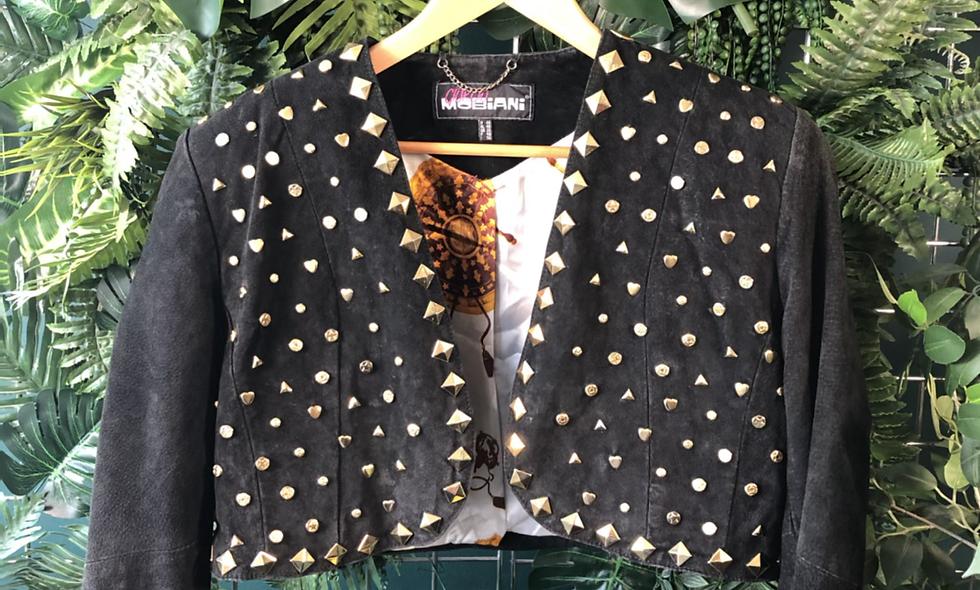 1990s crop studded jacket