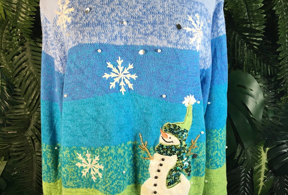 Snowman Sequin Christmas Knit (L)