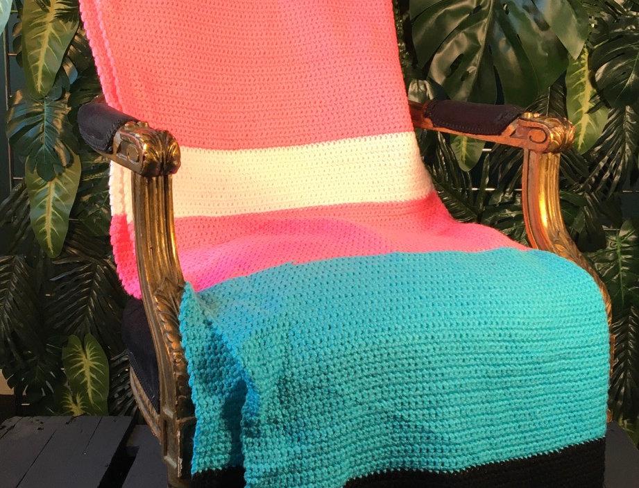 Fluoro Striped Hans Knit Blanket