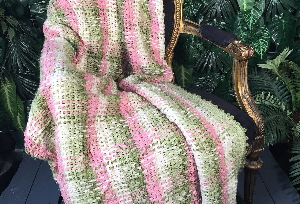 Handmade pink & green blanket