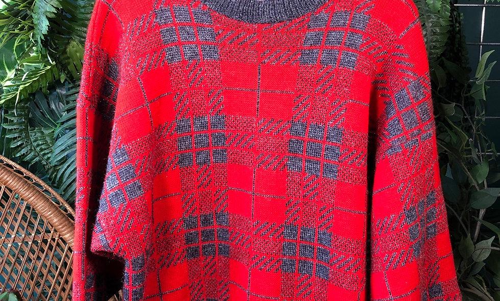 1980s tartan knit