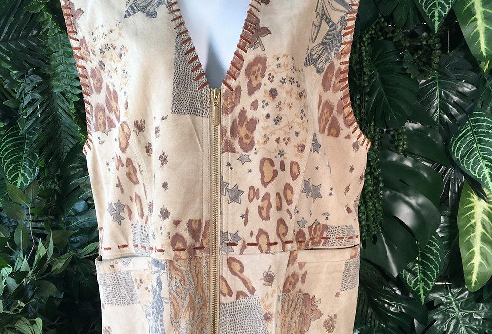 Printed suede waistcoat