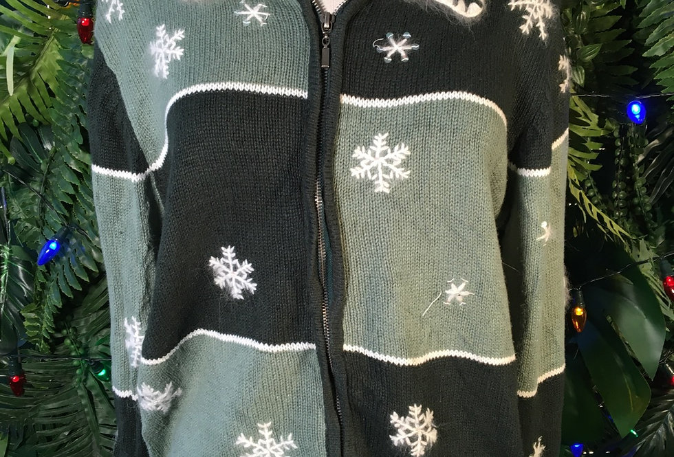 Hand Embroidered Snowflake Cardigan (S)