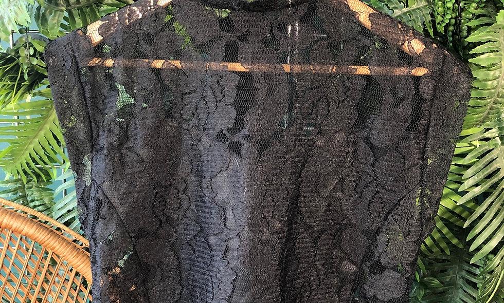 90s black lace blouse
