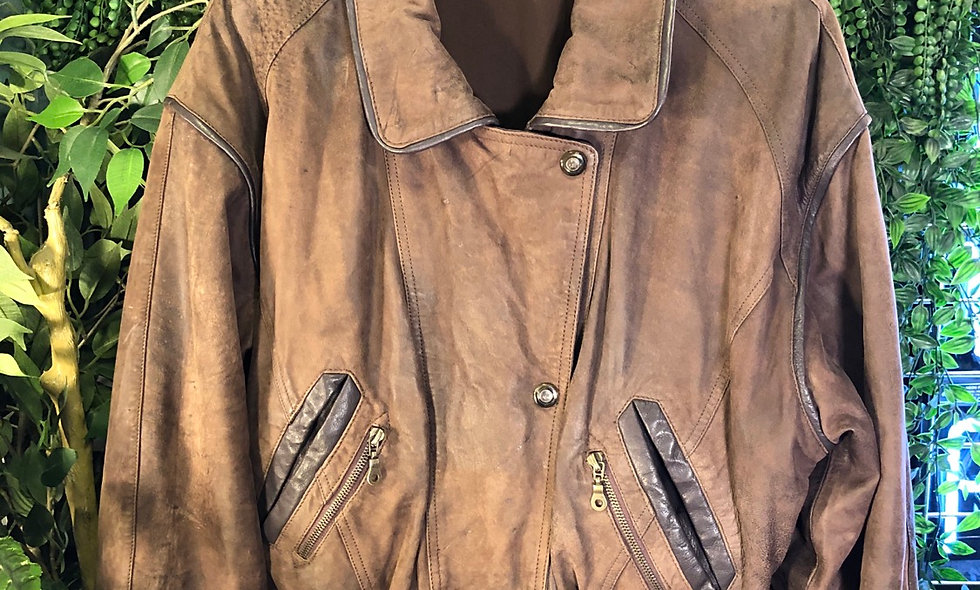 90s tan leather bomber jacket