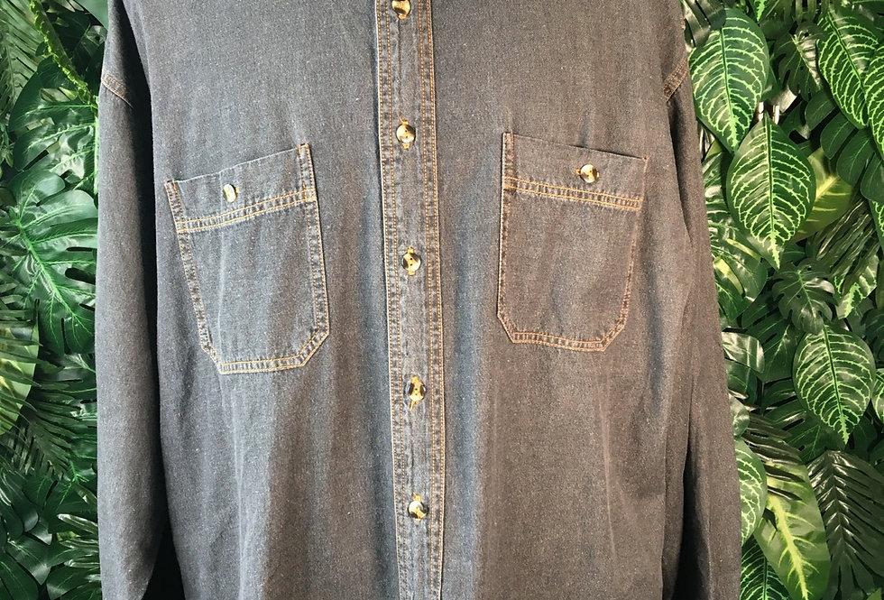 Charcoal loose fit denim shirt (XL)
