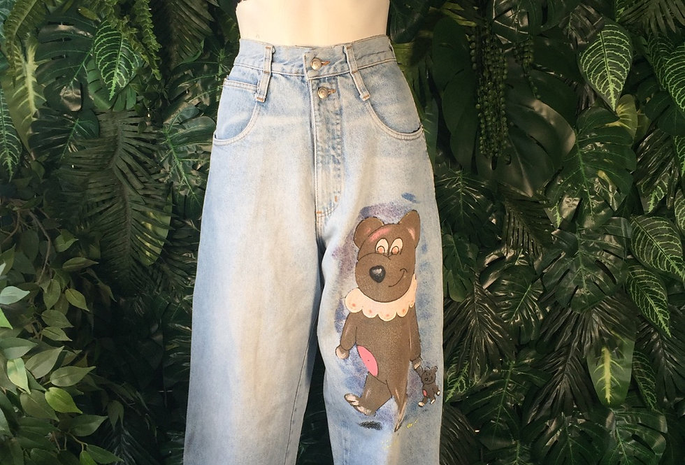 Hand painted wide leg jeans (size 8)