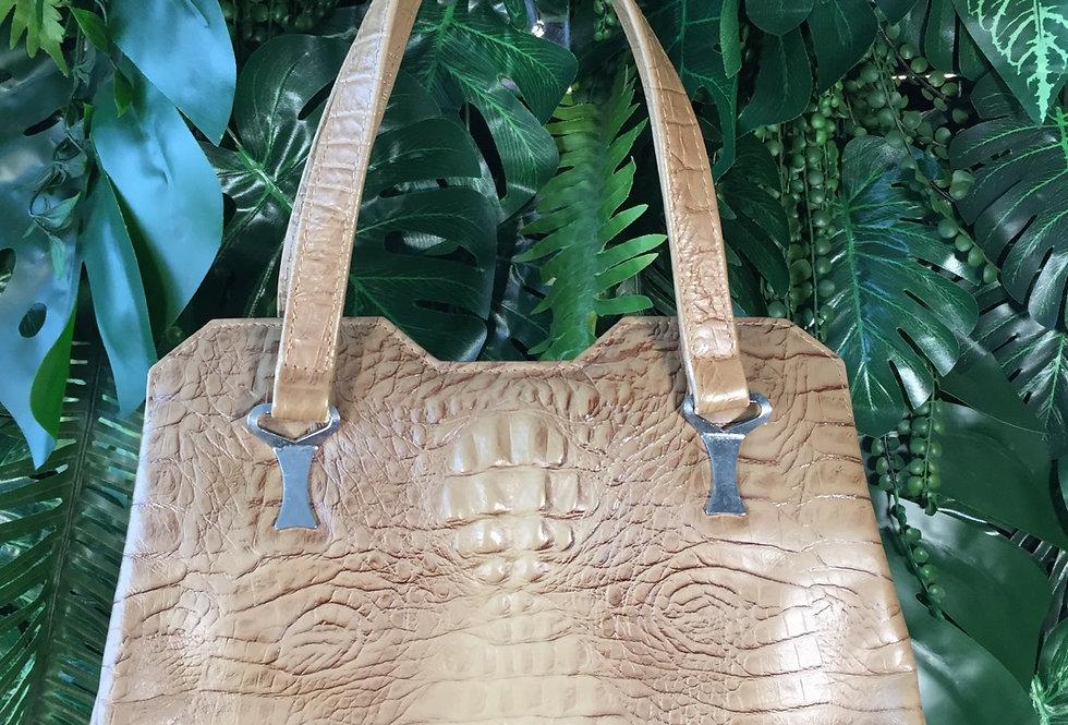 Light brown snakeskin handbag