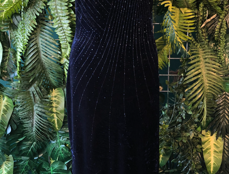 San Francisco navy glitter gown