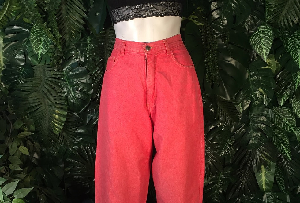Blue light tapered red jeans (size 10)