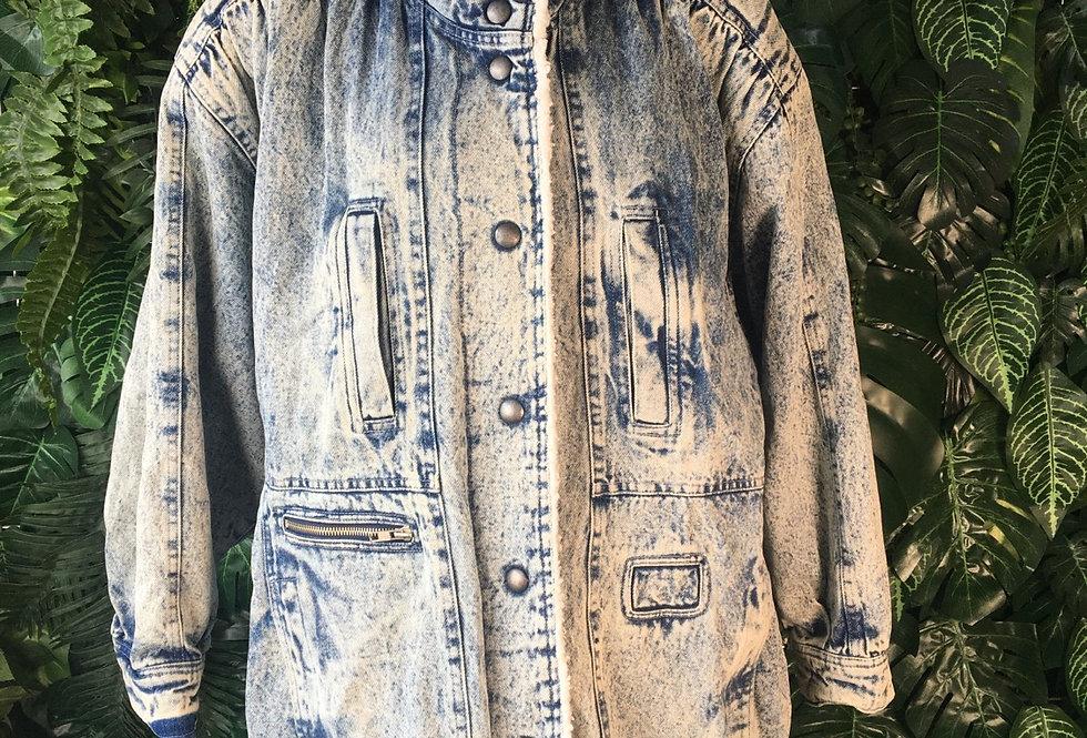 Fleece lined acid wash denim coat (size 42/44)