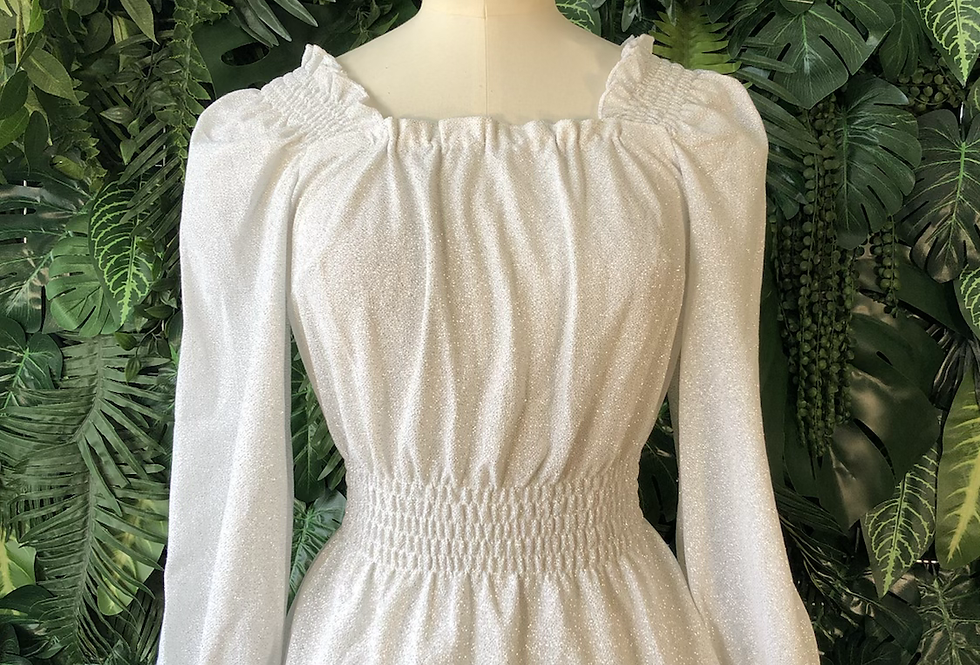 Silver sparkle bell sleeve top
