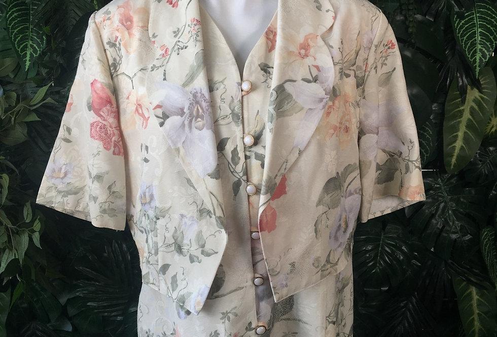 80s floral waistcoat blouse (size 14)