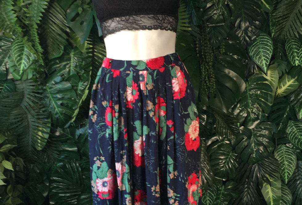 Navy floral skirt (size 8)