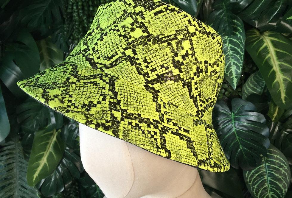 Acid yellow snakeskin bucket hat