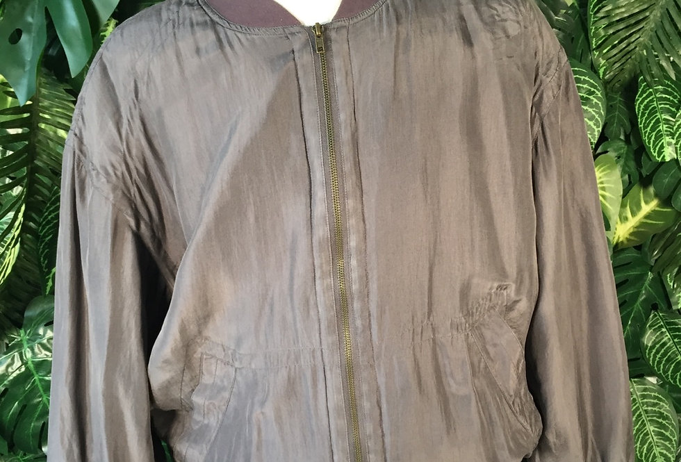 Pure silk charcoal bomber (L)