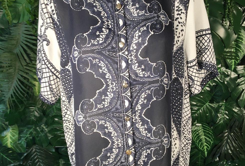 Navy & white blouse
