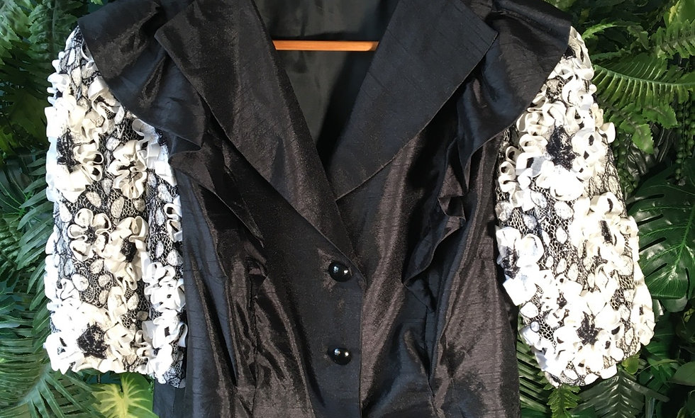80s Cropped Jacket With Sculpted Floral Sleeves